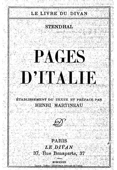 File:Stendhal - Pages d'Italie.djvu