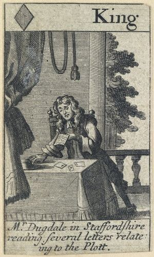 Stephen Dugdale - Playing card of 1679 showing Stephen Dugdale, engraving after Francis Barlow.
