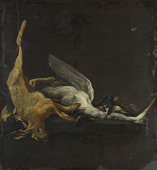 Still life with a hare, a heron and other birds