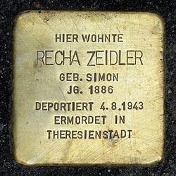 Photo of Recha Zeidler brass plaque