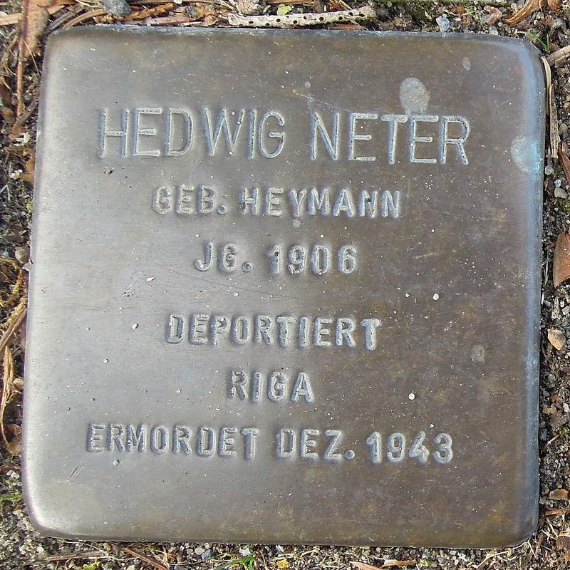 Stolperstein Bad Bentheim Dorfstraße 21 Hedwig Neter