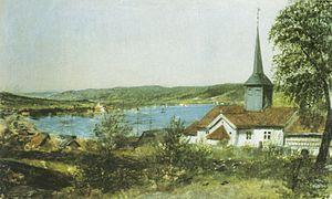 Strømsø - Strømsø med den gamle kirke på Tangen   Matthias Stoltenberg (1847)