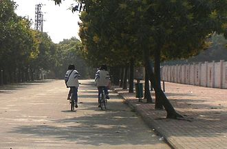 Dongchong, Guangzhou - Two students riding bicycles on their way to school.