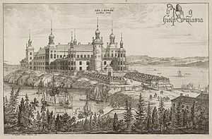 Charles XI of Sweden - Läckö Castle, one of many mansions reclaimed by the Crown. Engraving by Willem Swidde from circa 1700 in Suecia Antiqua et Hodierna