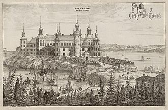 Charles XI of Sweden - Läckö Castle, one of many mansions reclaimed by the Crown. Engraving by Willem Swidde from circa 1700 in Suecia Antiqua et Hodierna.