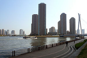 Chūō, Tokyo - Skyline of Chūō Ward by Sumida River