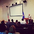 Superintendent Stakely welcoming -newuscitizen candidates to their -citizenship ceremony. (14737415953).jpg