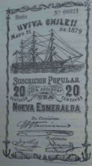 "Japanese cruiser Izumi - A subscription for 20 cents for the ""new Esmeralda"" in 1879"