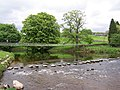 Suspension Bridge and Stepping Stones over River Wharfe - geograph.org.uk - 419510.jpg