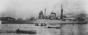 Japanese cruiser Suzuya (1934) - Suzuya in Kure Naval harbor, January 5, 1939. Taken from battleship ''Fusō''.