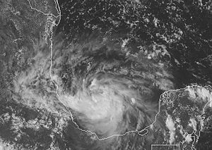 Hurricane Lorenzo - Tropical Depression Thirteen meandering in the Bay of Campeche on September 26