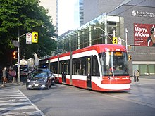 TTC Flexity Outlook low-floor accessible streetcar at Queen and University (Osgoode station).jpg