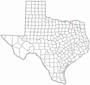 Location of Bonham, Texas