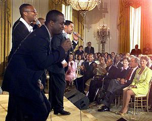 Take 6 - Take 6 performs for U.S. President George W. Bush and First Lady Laura Bush during a Black Music Month celebration at the White House on June 30, 2001