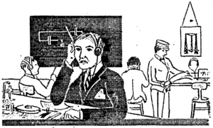 English: Cartoon showing a man receiving Morse...