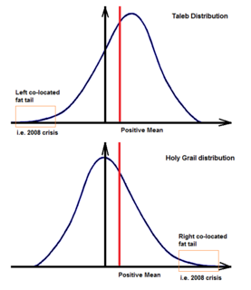 Taleb distribution probability distribution with a positive mean and a left fat tail; with expected small positive payoff and a small chance of serious losses