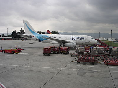 A TAME A319 at Bogota in 2010, with the new design and logo Tame aircraft Bogota airport.JPG