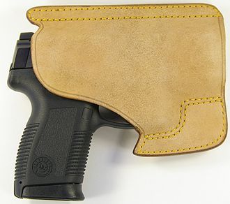 Handgun holster - A horsehide pocket holster with a Taurus Millennium PT145.