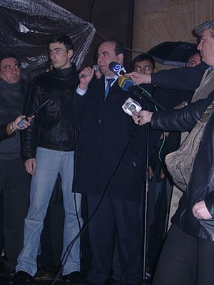 Zurab Zhvania - Zhvania addresses an opposition rally during the Rose Revolution, November 2003.