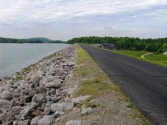 Bussell Island - Earthen levee along Bussell Island's new south shoreline
