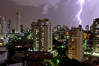 Heavy rain and lightning in Sao Paulo, which has the largest number of lightning incidents amongst Brazilian state capitals. Tempestade em SP.jpg