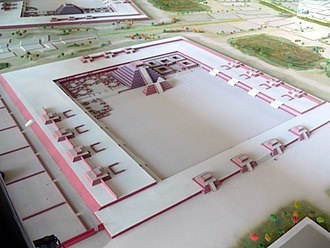 Temple of the Feathered Serpent, Teotihuacan - A reconstruction of the Ciudadela. The Temple of the Feathered Serpent can be seen at the upper center, with the Adosada directly in front of it.