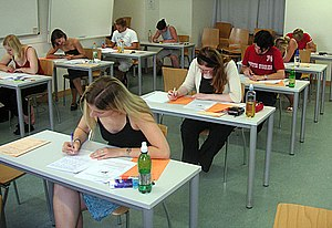 Students taking a test at the University of Vi...