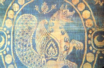 Sasanian silk twill textile of a simurgh in a beaded surround, 6th–7th century. Used in the reliquary of Saint Len, Paris Textile0001.jpg