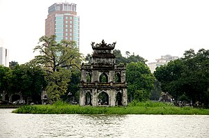 Tortoise Tower in the middle of Hoan Kiem Lake...
