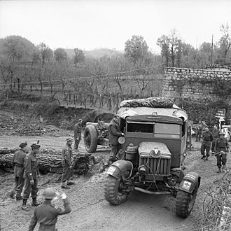 Spike Milligan - A Scammell Pioneer tows a howitzer of 18 Battery, 56th Heavy Regiment in Italy, 23 December 1943