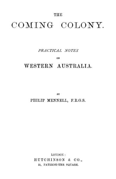 File:The Coming Colony Mennell 1892.djvu