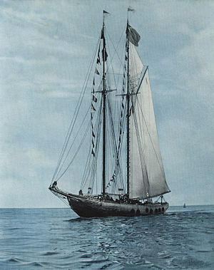 Hank Snow -  Photo of the Bluenose. Snow painted the schooner on cardboard winning 1st prize at the Lunenburg Fisheries Exhibition.