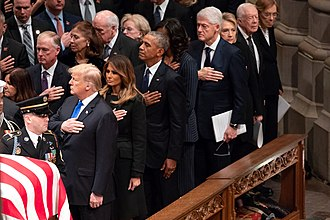 The state funeral of George H. W. Bush in December 2018. Carter and his wife Rosalynn can be seen on the far right of the photograph. The Funeral of President George H.W. Bush (46204190411).jpg