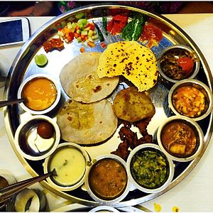 Gujarati cuisine - Gujarati Thali, a variety filled traditional dish served in Gujarat