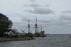 The Mayflower II in Plymouth Harbor, Plymouth MA.jpg