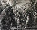 The Phillip Medhurst Picture Torah 408. Moses striking the rock. Exodus cap 17 v 6. Pozzi.jpg
