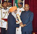 The President, Shri Ram Nath Kovind presenting the Padma Bhushan Award to Shri Sukhdev Singh Dhindsa, at the Civil Investiture Cerem.jpg