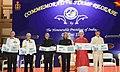 The President, Shri Ram Nath Kovind releasing the commemorative stamp on INS Kalvari, at ENCO Mess Lawns, INS Dega, at Visakhapatnam, in Andhra Pradesh.jpg
