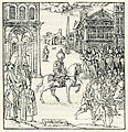 The Sultan rides to the mosque to pray on a Friday, escorted by a formal procession - Thevet André - 1556.jpg