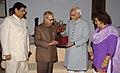 "The Vice President, Shri Mohd. Hamid Ansari receiving his ""E-Passport"" from the Union Minister of External Affairs, Shri Pranab Mukherjee, in New Delhi on June 25, 2008 (1).jpg"
