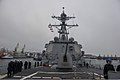 The guided missile destroyer USS Truxtun (DDG 103) prepares to pull into Constanța, Romania, March 8, 2014 140308-N-EI510-255.jpg