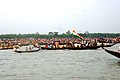 The large number of devotees in the boat from both side of Bangladesh and India enjoying the immersion ceremony of the idol of Goddess Durga at Ichamati river, Taki North 24 Parganas, in West Bengal on October 21, 2007.jpg