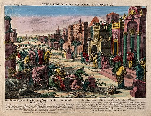 The plague of lice. Coloured etching. Wellcome V0010561