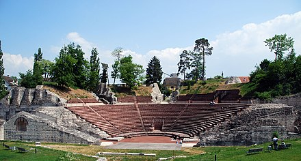 Founded in 44 BC by Lucius Munatius Plancus, Augusta Raurica was the first Roman settlement on the Rhine and is now among the most important archaeological sites in Switzerland. Theater Kaiseraugst.jpg