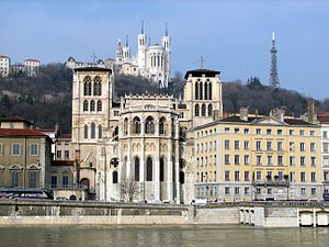 Saône - Scenic view of the banks of the Saône in Lyon, showing Lyon Cathedral, the Basilica of Notre-Dame de Fourvière, and the Tour métallique de Fourvière