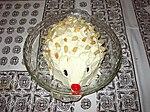 A tipsy cake shaped like a hedgehog