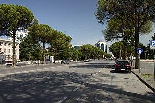 Dëshmorët e Kombit Boulevard street in Tirana, Albania