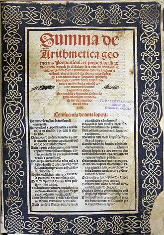 """Summa de arithmetica - Image: Titelbladet till """"Summa de arithmetica ..."""""""