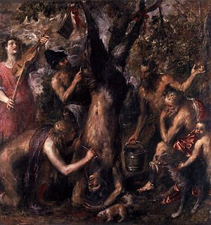 Flaying - The Flaying of Marsyas after challenging Apollo. Painting by Titian.