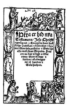 Title page of Oddur Gottskálksson's 1540 translation of the New Testament into Icelandic.jpg